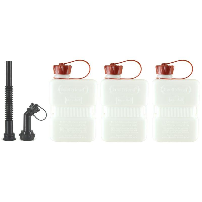 3x FUELFRIEND-PLUS 1,5 Liter Benzinkanister Reservekanister mit Füllrohr-SET