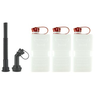 3x FuelFriend® PLUS CLEAR 1,5 Liter mit Füllrohr-Set
